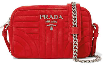 Prada Quilted Suede Camera Bag - Red