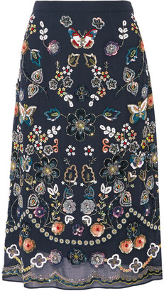 Needle & Thread - Embellished Georgette Skirt - Midnight blue $450 thestylecure.com
