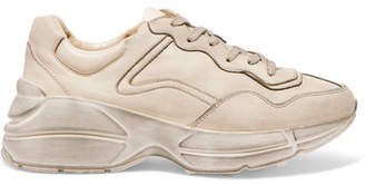 Gucci Rhython Distressed Leather Sneakers - Cream