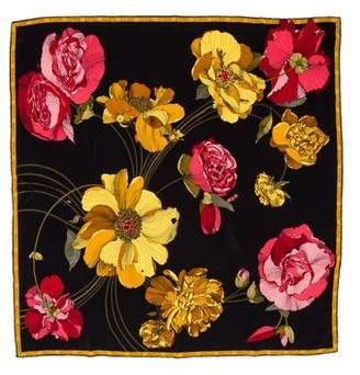Gucci Floral & Monogram Patterned Scarf