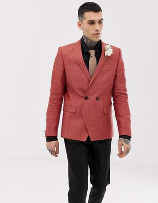 Twisted Tailor linen blazer in rust