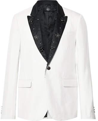 Amiri White Embellished Satin-Trimmed Slub Silk Blazer