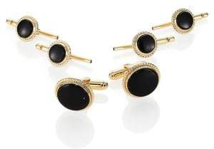 David Donahue Onyx 14kt-Gold Stud Set