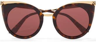 Cartier Eyewear - Cat-eye Tortoiseshell Acetate And Gold-tone Sunglasses - Black