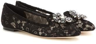 Dolce & Gabbana Crystal-embellished lace ballerinas