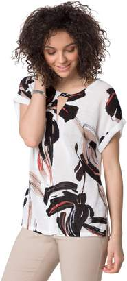 Le Château Women's Abstract Print Cotton Blend Short Sleeve Sweater,M