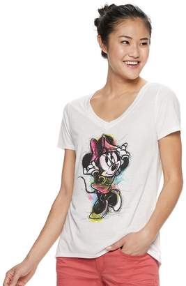 Disney Disney's Minnie Mouse Juniors' V-Neck Graphic Tee