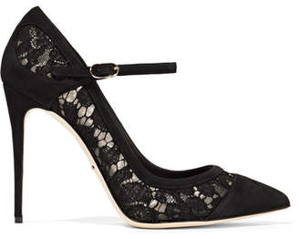 Dolce & Gabbana Suede-paneled Corded Lace And Mesh Pumps - Black