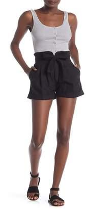 GOOD LUCK GEM High Waist Tie Front Shorts
