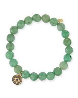 Sydney Evan 8mm Faceted Green Beaded Bracelet w/14K Gold Diamond Evil Eye Charm