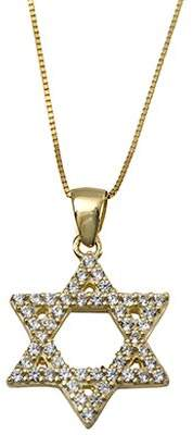 ADI Paz Crystal Star of David Pendant with Chai n, 14K Gold