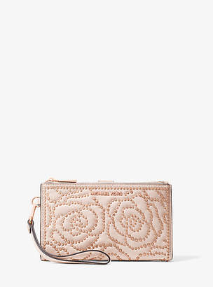 Michael Kors Adele Rose Studded Leather Smartphone Wallet