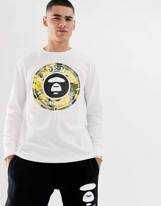 2224ed54a09a A Bathing Ape Aape By AAPE By Long Sleeve T-Shirt With Large Logo In
