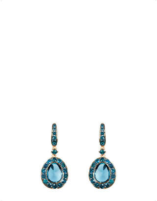 Rosegold Annoushka Dusty Diamonds 18ct rose-gold, diamond and topaz drop earrings, blue