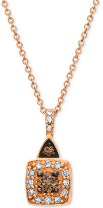LeVian Chocolate by Petite Le Vian Chocolate and White Diamond (1/4 ct. t.w.) Square Pendant in 14k Rose Gold