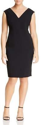 Marina Rinaldi Shapely Seamed V-Neck Dress
