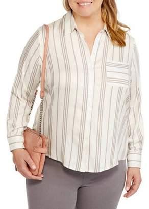 Heart and Crush Women's Plus Stripe Shirt with Back Split