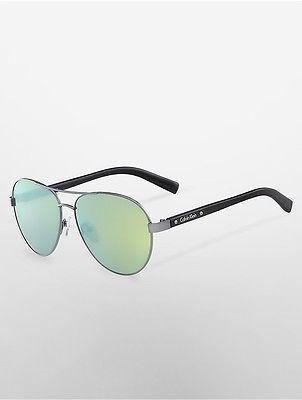 Calvin KleinCalvin Klein Womens Aviator Flash Lens Sunglasses Green