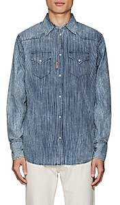 DSQUARED2 Men's Striped Cotton Chambray Western Shirt-Blue Size 46 Eu