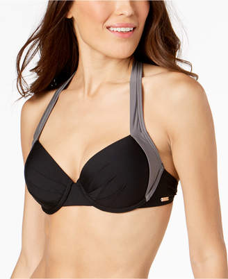 Calvin Klein Color-Block Halter Underwire Bikini Top Women's Swimsuit