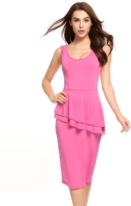 ACEVOG Women's Casual Sleeveless Solid Color Back V-Neck Bodycon Pencil Dress