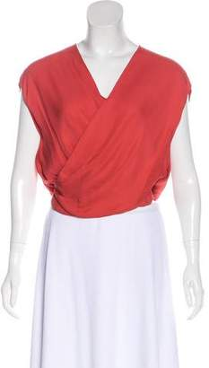 L'Agence Silk Surplice Sleeveless Top