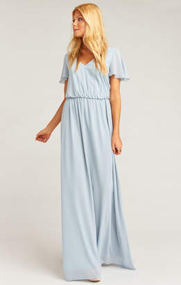 Show Me Your Mumu Michelle Flutter Maxi Dress ~ Steel Blue Chiffon