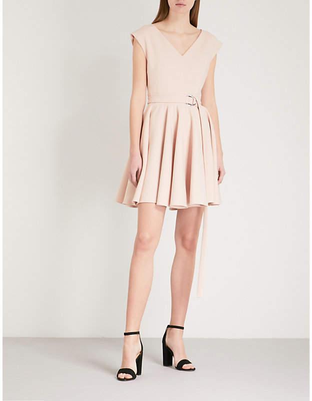 Rimae belted crepe mini dress