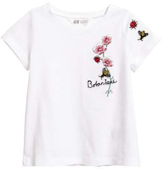 H&M Jersey Top with Embroidery - White