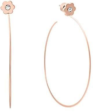 Michael Kors Womens -Tone Flower Hoop Earrings