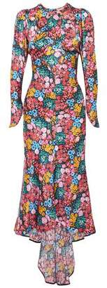 ATTICO Floral-print Silk-satin Midi Dress