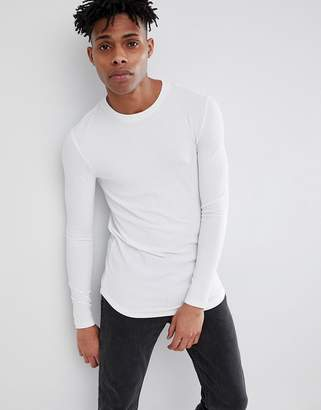 Asos Design DESIGN muscle longline long sleeve t-shirt with curve hem in rib in white
