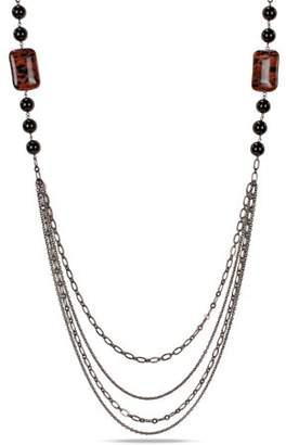 """Generic 80 Carat T.G.W. Sand Stone and Onyx Beads Brass Layered Necklace, 35"""""""