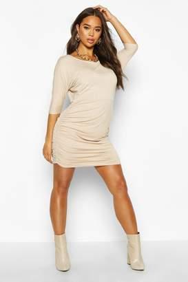 boohoo Ruched Short Sleeve Mini Dress