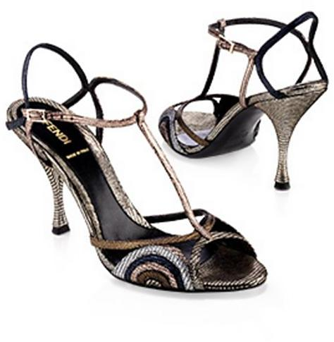 Fendi Runway Metallic Circles Heel