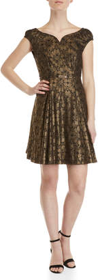 Yumi Metallic Lace Belted Fit & Flare Dress