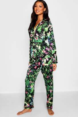 boohoo Oriental Palm Wrap Front Belted PJ