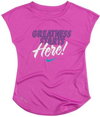 "Nike Toddler Girl Greatness Starts Here"" Dri-FIT Tee"
