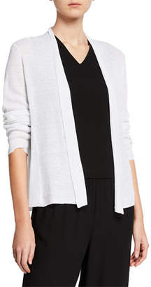 9c1347affc6 Eileen Fisher Open-Front Long-Sleeve Shaped Organic Linen Cardigan