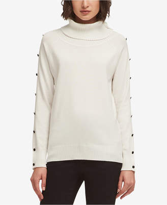 DKNY Button-Detail Turtleneck Sweater