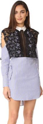 Self Portrait Stripe Shirting Cape Dress $410 thestylecure.com