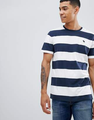 Abercrombie & Fitch bold stripe icon logo crew neck t-shirt in navy