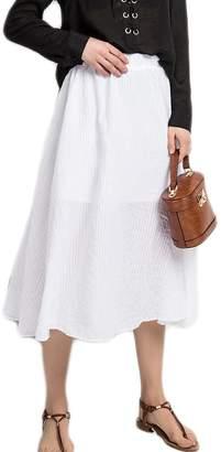 Azue Women's Plus Size A-Line Boho Flowy Summer Beach Casual Half Dress Long Skirts