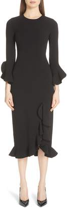 Michael Kors Rumba Ruffle Trim Stretch Wool Dress