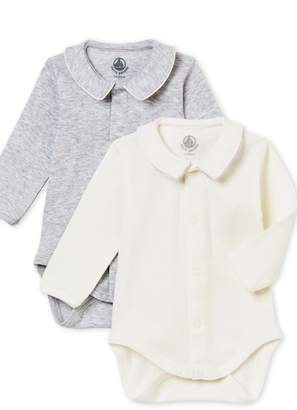 Petit Bateau Baby Boy Set of Long Sleeves Bodysuits with Collar