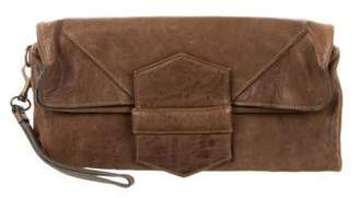 Yigal Azrouel Distressed Leather Flap Clutch