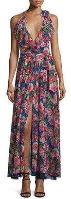 Fuzzi Floral-Print Ruffled Halter Maxi Dress $645 thestylecure.com