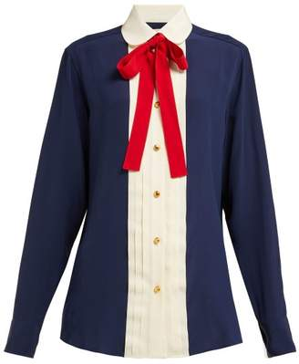 Gucci Neck Tie Silk Georgette Blouse - Womens - Navy Multi