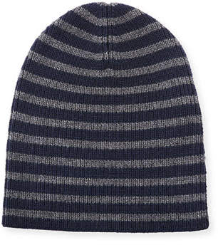 Vince Striped Wool Beanie Hat