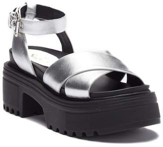 Shellys London Ankle Strap Platform Leather Sandal